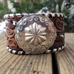 Jewelry - Vintage Navajo Concho Rodeo Leather Cuff Bracelet